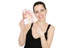 The Beautiful Happy Woman Holding Many Rouble Banknotes Stock Images