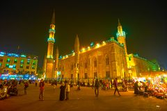 The Beautiful Illumination Of Al-Hussein Mosque In Cairo, Egypt Royalty Free Stock Images