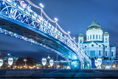 Free The Beautiful Patriarshy Bridgeand Cathedral Of Christ The Saviour With Christmas Illumination Stock Images - 170582144