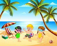 The Beautiful View With Three Children Playing In The Beach Under The Blue Sky Stock Photography