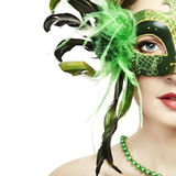 The Beautiful Young Woman In A Venetian Mask Stock Images