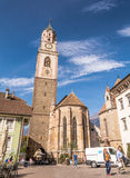 The Bell Tower Of The Cathedral Of St. - Nicholas In Merano, Bolzano, South Tyrol, Italy Stock Photography