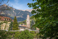 The Bell Tower Of The Cathedral Of St. - Nicholas In Merano, Bolzano, South Tyrol, Italy Stock Photos