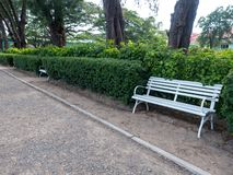 The Bench In The Shady Garden Royalty Free Stock Photo