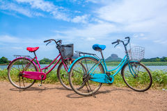 Free The Bicycle Stands On A Village Road At Thalkote Lake Near Sigiriya Stock Images - 96379214