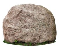 The Big Ancient Mossy Granite Stone Lie On A Forest Green Grass Stock Photos