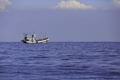 Free The Big Fishing Boat In The Sea Of Thai`s Gulf Stock Image - 105556631