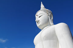 The Big White Buddha In Thailand Temple Stock Photos