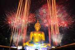 The Bigest Buddha With Firework In Thailand Stock Photography