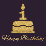 The Birthday Cake With Candles In The Form Of Number 1. Birthday Symbol. Gold Sparkles And Glitter Royalty Free Stock Images