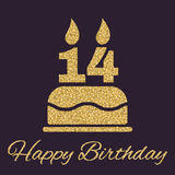 The Birthday Cake With Candles In The Form Of Number 14 Icon. Birthday Symbol. Gold Sparkles And Glitter Royalty Free Stock Photo