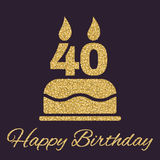 The Birthday Cake With Candles In The Form Of Number 40 Icon. Birthday Symbol. Gold Sparkles And Glitter Royalty Free Stock Photo