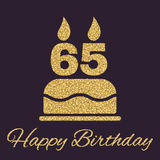 The Birthday Cake With Candles In The Form Of Number 65 Icon. Birthday Symbol. Gold Sparkles And Glitter Stock Photography