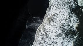 The Black Sand Beach In Iceland. Aerial View And Top View. Beaut Stock Photography