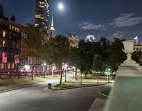 The Boston Common At Night In Boston MA Stock Images