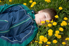 The Boy Lay On The Grass Stock Images