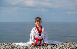 Free The Boy Training On The Beach: Taekwondo, Sports Stock Image - 78279431