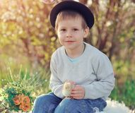 The Boy With A Chicken Royalty Free Stock Photography