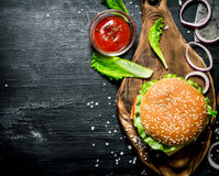 The Burger And The Fresh Ingredients Stock Image