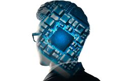 Free The Businessman Image Overlay With The Microchip The Concept Of Artificial Intelligence, Future, Telecommunication And Technology. Stock Photography - 190940472