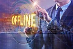 Free The Businessman Pressing Virtual Button Offline Stock Photo - 80820220