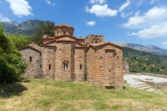 The Byzantine Church Of Agia Sofia In Mystras, Peloponnese, Greece. Stock Photo