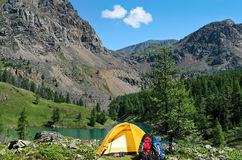 The Camp Near A Mountain Lake Stock Image