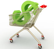 The Cart With Sign Dollar Inside Stock Image