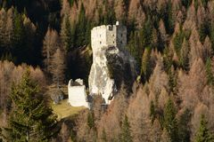 Free The Castle Of Andraz Immersed In The Dolomites In Livinallongo Of Col Di Lana Royalty Free Stock Image - 123353476