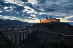 The Castle Of Spoleto At Sunset Stock Images