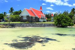The Chapel With Red Roof, Cap Malheureux, Mauritius Royalty Free Stock Photo