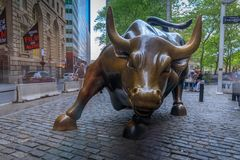 The Charging Bull Statue In Downtown Manhattan On Wall Street In New York City. Royalty Free Stock Photos