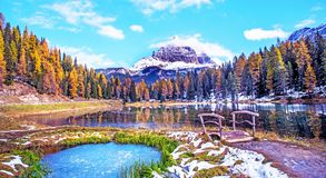 Free The Charming Landscape With Frozen Snowy Pond And Wooden Bridge On A Background Of Tre Cime De Lavaredo Mountains On The Antorno Royalty Free Stock Photography - 158591177