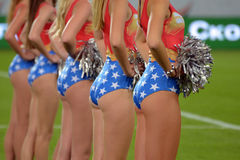The Cheerleaders Backs Photo Was Taken During Match Between Fc Dnipro Dnipropetrovsk City And Fc Vorskla Poltava City At Stadium Royalty Free Stock Photos