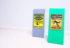 Free The Chemical Spill Kit Tag Stand And Warning Danger Caution Hazard Tag Sign Watch Your Step For Emergency Response Situation. Royalty Free Stock Photography - 171302957