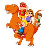 The Children And Some Of Them Use The Costume And They Get Into The Tyrannosaurus Rex`s Body And Then Some Of Them Holding His Tai Stock Photography