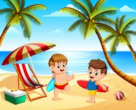 The Children Summer Vacation Playing In The Beach And Holding The Surfing Board Stock Images