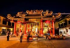 Free The Chinese Temple Of `Guan Yin` At Yaowarat Road, Bangkok`s Chinatown,the Image At Night Time. Stock Photography - 120092142