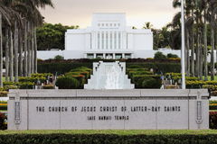 The Church Of Jesus Christ Of Latter-Day Saints Laie Hawaii Temple Stock Photo