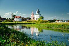 The Church On The Riverbank Stock Photography