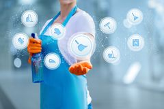 Free The Cleaning Lady Shows The Structure Of The Housekeeping Service Royalty Free Stock Image - 159863976