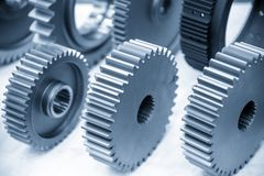 Free The Close-up Scene Of Various Type Of  The Pinion Gear Parts Shaft  In The Light Blue Scene. Stock Photos - 162835693