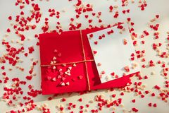 The Closed Envelope And Many  Hearts. Valentine `s Day Envelope Post Office, Red Heart Bound Rope. Valentina Letter Card, Wedding Royalty Free Stock Images
