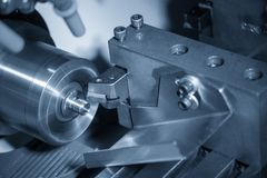 Free The CNC Lathe Machine In Metal Working Process Cutting The Screw  Parts With The Cutting Tools. Stock Image - 166084761