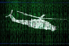 Free The Code Matrix And Helicopter Silhouette Royalty Free Stock Photos - 188587518