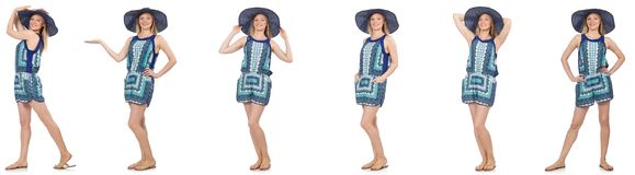 The Collage Of Woman In Blue Dress And Panama On White Stock Photos