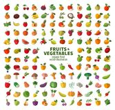 The Collection Of Icons On Fruits And Vegetables. Stock Photos