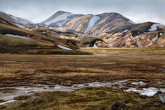 The Colorful Rhyolite Mountains Of Landmannalaugar Stock Images