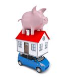 The Composition Of Car, House And Piggy Bank Stock Photography