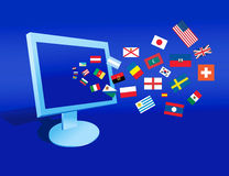 The Computer And Flags Royalty Free Stock Photos